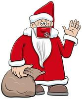 desenho animado do papai noel com máscara facial na época do natal