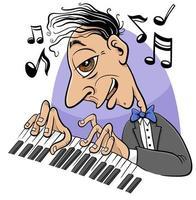 personagem de desenho animado pianista tocando piano