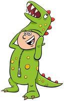 menino fantasiado de dinossauro na ilustração dos desenhos animados da festa de halloween vetor