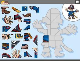jogo de quebra-cabeça com personagem de fantasia de capitão pirata vetor