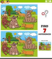 diferenças tarefa educacional para crianças com cães vetor