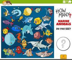 quantos animais marinhos tarefa educacional para crianças vetor
