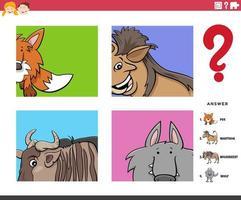 Adivinha tarefa educacional de personagens de animais para crianças vetor