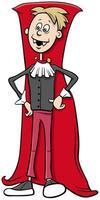 menino fantasiado de vampiro na ilustração dos desenhos animados da festa de halloween vetor