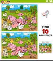 diferenças jogo educacional com personagens de animais de fazenda