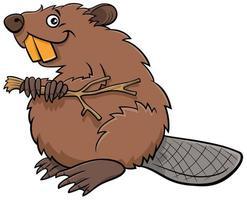 desenho animado castor personagem animal em quadrinhos vetor