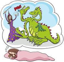 desenho animado dormindo jovem sonhando em derrotar o dragão