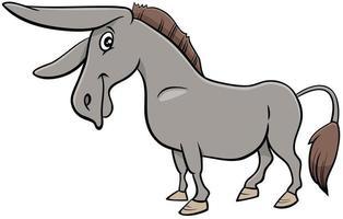 desenho animado burro animal de fazenda vetor