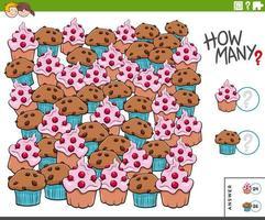 tarefa educacional de contar muffins e cupcakes para crianças vetor