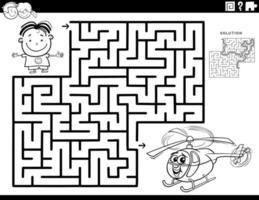 jogo de labirinto com a página do livro para colorir de menino e helicóptero de brinquedo vetor