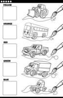 cores básicas com veículos de desenho animado para colorir página vetor
