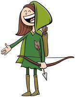 garota com fantasia de Robin Hood na ilustração dos desenhos animados da festa de halloween vetor