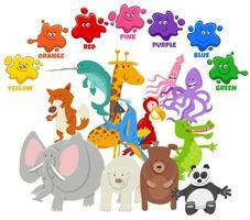 cores básicas para crianças com grupo de personagens animais vetor