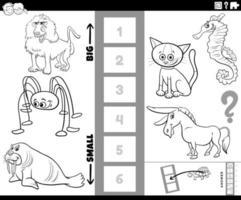 encontre o maior e o menor jogo de animais para colorir a página vetor