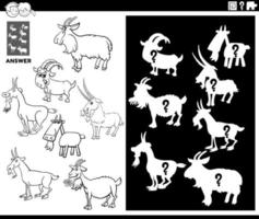 jogo de combinar formas com página de livro para colorir de cabras vetor