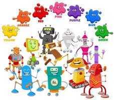 cores básicas para crianças com grupo de personagens de robôs vetor
