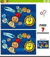 diferenças jogo educacional com planetas e orbes vetor