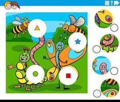 tarefa de combinar peças com personagens de insetos vetor