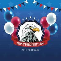 pôster feliz do dia dos presidentes com águia e balões de hélio vetor