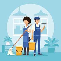 empregada doméstica casal trabalhadores com esfregão e balde