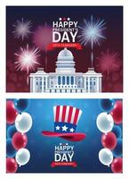 poster feliz dia do presidente com conjunto de cenas vetor