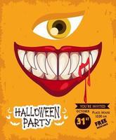 pôster de celebração da festa de terror de halloween com boca e olhos vetor