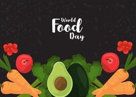 pôster do dia mundial da comida com vegetais em fundo preto