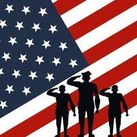 silhuetas de oficial militar no fundo da bandeira dos EUA