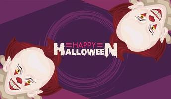poster feliz celebração do terror do halloween com palhaços e letras vetor