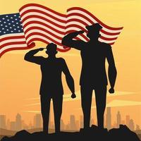 silhuetas de oficial militar com cena do pôr do sol com a bandeira dos EUA
