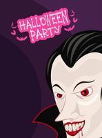 pôster de celebração de festa de terror de halloween com vampiro vetor