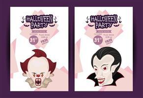 pôster de celebração da festa de terror de halloween com palhaço e vampiro vetor