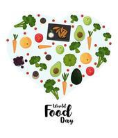 pôster do dia mundial da comida com vegetais em formato de coração
