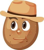 personagem de desenho animado de batata com expressão facial vetor