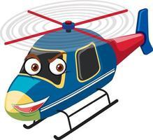 helicóptero com expressão facial em fundo branco vetor