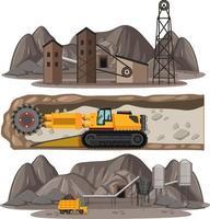 cena de mineração de carvão com diferentes tipos de caminhões de construção vetor