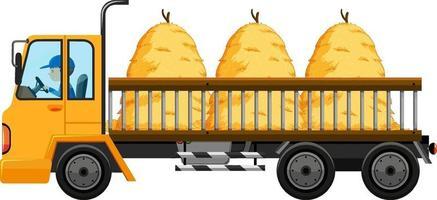 caminhão de reboque carregando feno isolado fundo vetor