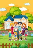 família feliz em pé na frente da casa vetor