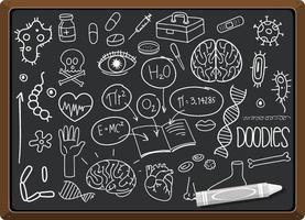 mão desenhada elemento de ciência no quadro vetor