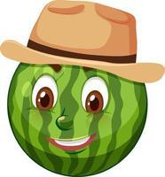 personagem de desenho animado de melancia com expressão facial vetor