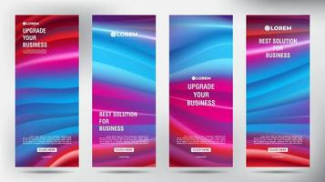 conjunto de banners de panfleto de brochura comercial de malha de cores vetor