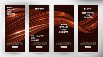 conjunto de banners de panfleto de brochura comercial de chocolate fluido vetor