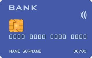 cartão bancário com protótipo de paywave paypass azul. banco abstrato, sistema de pagamento abstrato vetor