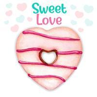 Fofa rosa aquarela coração donut doce mensagem de amor vetor