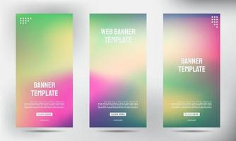 conjunto de designs de banner de folheto panfleto enrolado desfocado vetor