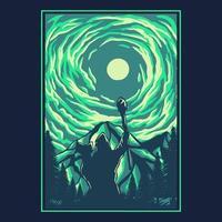 ilustração em vetor silhueta bruxa do céu