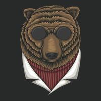 urso ilustração vetorial de óculos vetor