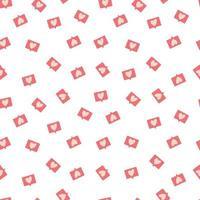 padrão sem emenda com símbolo de notificação de amor para feliz dia dos namorados. ilustração plana colorida. vetor