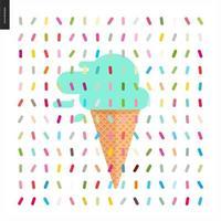 sorvete de menta em cone e padrão