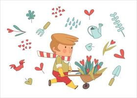 conjunto de jardineiro de amor